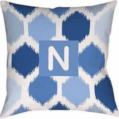 Thumbprintz Batik Monogram Decorative Pillow, Blue