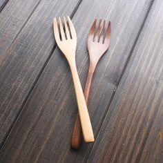 Machilus Nanmu Fruit Forks Dinner Fork 2 Colors Thread Forks 17.5cm Long Handled Wood Fork Wooden Tableware