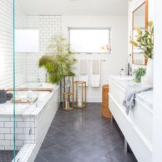Bathroom decor for the bathroom renovation. Discover bathroom organization, master bathroom decor tips, bathroom tile a few ideas, master bathroom paint colors, and more. Home Interior, Bathroom Interior, Modern Bathroom, Small Bathroom, Boho Bathroom, Bathroom Storage, Navy Bathroom, Dark Floor Bathroom, Bathroom Mirrors