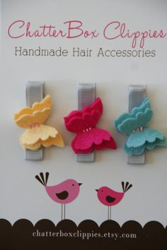 Baby Hair Clips Petite Butterflies in Brights Wool Felt Baby Alligator Clips Infant Toddler Girls. $9.99, via Etsy.