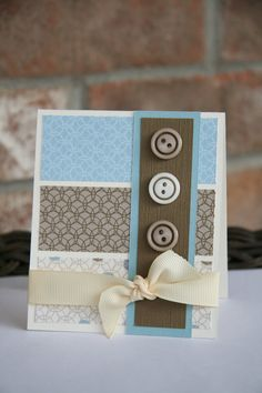 Sweet Homemade Greeting Card...using paper scraps and with buttons & a bow.