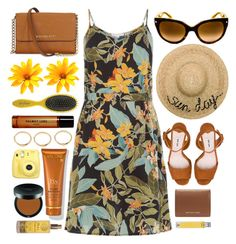 """Summer Look"" by smartbuyglasses-uk ❤ liked on Polyvore featuring Eugenia Kim, Prada, Miu Miu, Michael Kors, Drybar, Helmut Lang, Fujifilm, Lancôme, Bare Escentuals and Melchior & Balthazar"