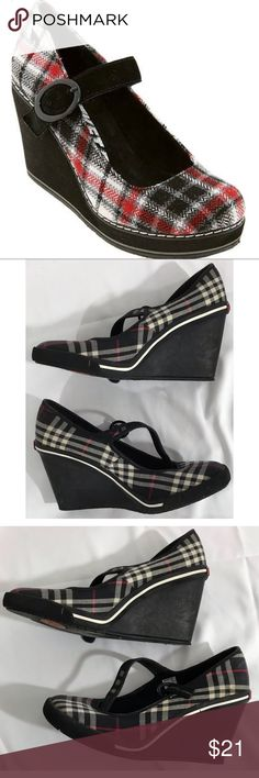 """Rocket Dog Grad School Wedges Funky plaid wedges in a Mary Jane style. Wedge height 3"""" and comfortable footbed! Rocket Dog Shoes Wedges"""