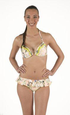 Bikini in lycra Push Up con doppia balza. Fantasia floreale. Slip gonnellino | Eleonora Lingerie