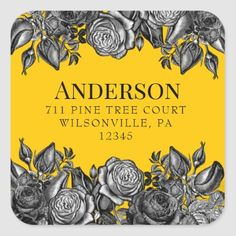 Black Roses Goldenrod Square Return Address Square Sticker Lime Green Weddings, Black And White Roses, Luxe Wedding, Bold Fashion, Return Address, Keep It Cleaner, Custom Stickers, Activities For Kids, Colored Envelopes