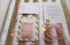 gift certificate, blush style, blush packaging, online packaging, stripes, sparkle, pink & gold, pink ribbon,