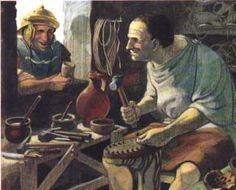 Roman shoemaker. New Fantasy, Fantasy World, Ancient Rome, Ancient History, Roman Dress, Roman Legion, Roman Era, Roman History, Ancient Civilizations