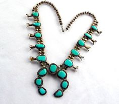 Old Pawn Indian Turquoise Jewelry | Turquoise Squash Blossom Silver Necklace Old Pawn Native American ...