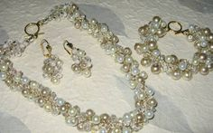 Wedding SET Hand Knit Bridal Jewelry - Iced Champagne TRIO BLISS- Ivory Pearl, Crystal, Necklace - Bracelet - Earrings by Sereba Designs. $148.00, via Etsy.