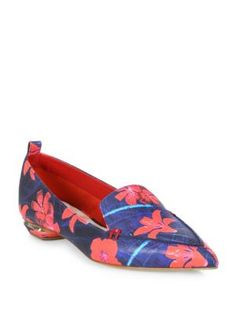 NICHOLAS KIRKWOOD Beya Flower-Print Leather Loafers. #nicholaskirkwood # shoes #flats