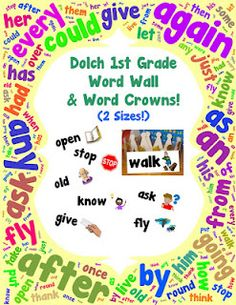 "adorable word wall set for the dolch first grade sight words... with pictures and a matching set of word ""crowns"" so that you students can wear the words! only $4 and there's matching sets for the other dolch lists!"