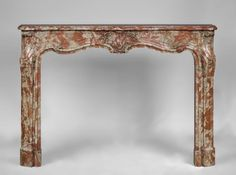 Rare antique Louis XV period fireplace in Red from the Languedoc marble, century - Ref. 3191 - Available at Galery Marc Maison Fireplace Inserts, Rococo Style, Architectural Antiques, Marble Floor, Rare Antique, French Antiques, 18th Century, Classic Style, Entryway Tables