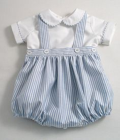 Classic blue and white striped Oxford cotton romper-suit set for baby boys!  Description:-  The romper bottoms are made from striped Oxford cotton. (The best Oxford cotton used to make those classic button-down mens shirts). They are generously gathered at the waist, side openings with linen covered buttons. There is adjustable buttonhole elastic in the back waistband and detachable straps/suspenders to keep the suit neatly together. Fully lined with cotton lawn. Underleg buttons for qui...