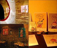 """Le pareti del Corvo sono ancora più belle con le tele dell'artista ortonese Fabio Di Lizio e i suoi """"Cattivi Pensieri"""" in vetrina. Venite a trovarci a Lanciano! Info tel. 0872 716303 o mail FB Profile https://www.facebook.com/corvotorvo?fref=ts"""
