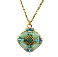 Michal Golan Gold Plated Square Pendant Necklace with Howlite Turquoise and Green Adventurine on Brass Chain
