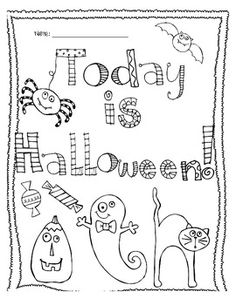 Today Is Halloween Coloring Page FREEBIE