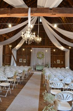 Beautiful Chic Barn Wedding. These drapes would look amazing in the tithe barn at Ufton Court.