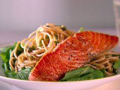 Whole-Wheat Spaghetti with Lemon, Basil and Salmon http://www.foodnetwork.com/recipes/giada-de-laurentiis/whole-wheat-spaghetti-with-lemon-basil-and-salmon-recipe/index.html