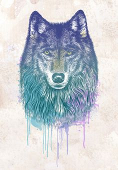 I Dream of Wolf Art Print. Enjoy the use of colors in this print.