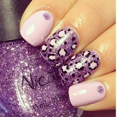Purple Leopard Nails With Glitter