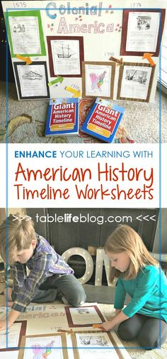 Add hands-on learning to your American history lessons with this timeline project. - Enhance Your Homeschool Lessons with American History Timeline Worksheets American History Lessons, History For Kids, History Activities, Teaching History, History Education, Learning Activities, Teaching Ideas, Nasa History, History Quotes