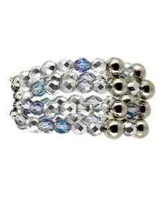 Iridescent & Silver Rivas Stretch Bracelet #zulily #zulilyfinds