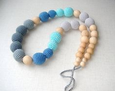 Gradation Grey Blue Nursing necklace by MiracleFromThreads on Etsy, $41.00