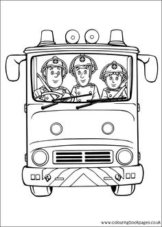 Fireman Sam character colouring in pages