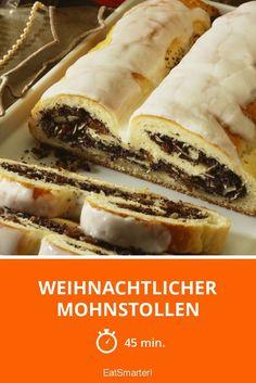 Weihnachtlicher Mohnstollen - smarter - Zeit: 45 Min. | eatsmarter.de Ciabatta, Cheesesteak, Sweet Recipes, Christmas Time, Muffins, Sweets, Baking, Cake, Ethnic Recipes