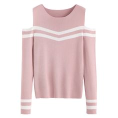 Pink Striped Open Shoulder Sweater ($21) ❤ liked on Polyvore featuring tops, sweaters, striped top, stripe sweater, cold shoulder tops, cut-out shoulder tops and open shoulder top