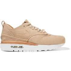 NikeLab Air Max 1 Royal faux suede and leather sneakers ($250) ❤ liked on Polyvore featuring shoes, sneakers, sapatos, beige, lacing sneakers, leather sneakers, nike, leather lace up sneakers and beige shoes