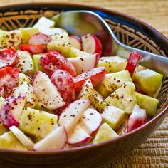 Recipe for Tomato, Cucumber, and Radish Salad with Yogurt and Tahini Dressing from Kalyn's Kitchen