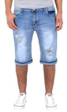32f93f9d45e8 by-tex Herren Shorts kurze Hose mit Risse Jeans Bermuda Shorts kurze Sommer  Hose Destroyed
