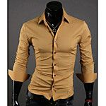 Zian® Men's Shirt Collar Fashion Stripes Contrast Color Casual Long Sleeve Shirt O 2017 - $15.99