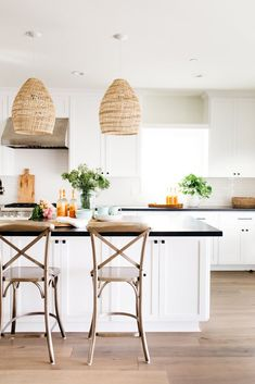 Look at this incredible Kitchen by Greige Design + White Kitchen Design Ideas + Interior Design + Home Decor Shop Interior Design, Interior Design Kitchen, House Design, Style Me Pretty Living, California Bungalow, Buffet, White Kitchen Cabinets, Kitchen Island, Island Stools