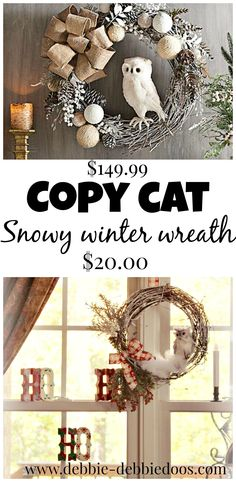 Christmas craft alert! Saw this great copy cat winter owl wreath, retails for $149.99 - @micmanno made one for 20 bucks!! DIY home decor for the win :)