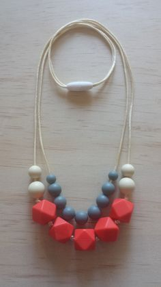 Violet in Coral Silicone Teething Necklace by IndigoLaneDesign