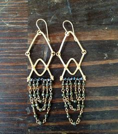 Forged Gold filled wire & pyrite chandeliers Swoon Gems