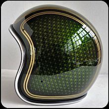 Motorcycle Helmet Custom Paint Green Gold