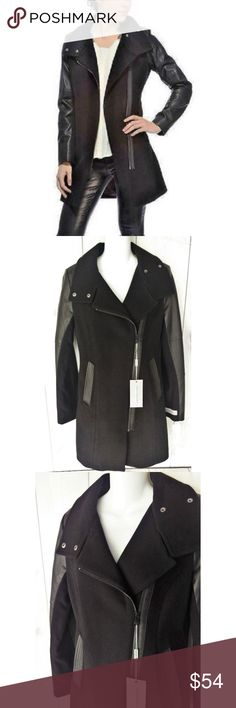 """Andrew Marc Adele Wool Blend Faux Leather Coat Stunning coat! Made of 70% virgin wool and 30% polyamide. Super soft. Faux leather accents (not genuine leather). Measurements are flat lay. Size 4 chest across at armpits 18"""", waist flat across 17"""", sleeve 25.5"""", length 33"""". Brand new. Smoke free facility.. Andrew Marc Jackets & Coats"""