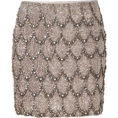 COLLETTE DINNIGAN Moonstone Crystal Beaded Silk Skirt ($2,260) found on Polyvore