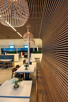 The latest luxurious trends for your home decoration. Discover more luxurious interior design ideas at luxxu.net Wood Slat Ceiling, Wooden Ceilings, Restaurant Interior Design, Cafe Interior, Commercial Architecture, Interior Architecture, Design Studio, House Design, Restaurants