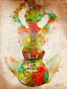 Music Digital Art - Guitar Siren by Nikki Smith