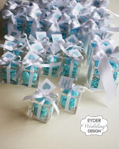 aqua wedding favor