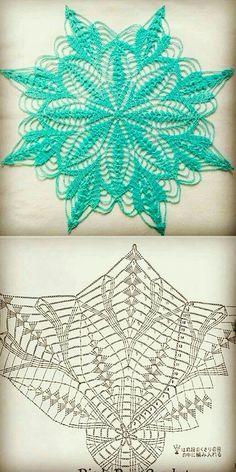 Free Crochet Doily Patterns, Crochet Doily Diagram, Crochet Squares, Crochet Designs, Crochet Dollies, Crochet Lace, Thread Crochet, Crochet Crafts, Crochet Dreamcatcher