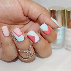 Color Blocking Nails using Milani Cosmetics Nail polishes.