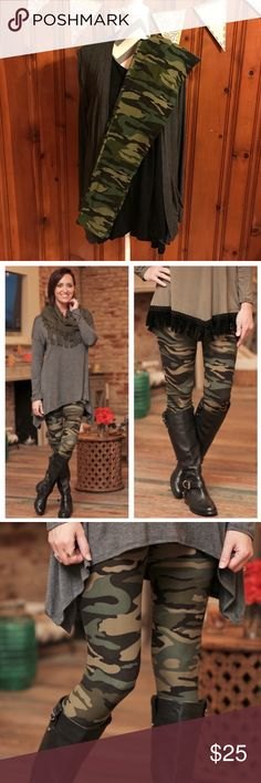 Camo Leggings These brushed knit leggings are oh so soft! You won't want to take them off. The closest thing to wearing nothing at all! 92% Polyester 8% Spandex. They fit sizes Small - Large (up to size 12) comfortably. Camouflage print is right on trend for Fall. Infinity Raine Pants Leggings