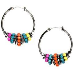 Nine West Earrings, Multicolor Beaded Hoop Earrings
