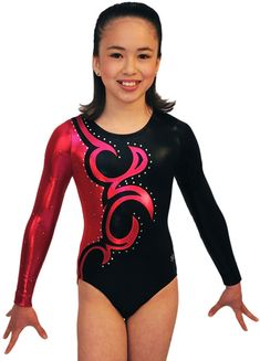 Legacy Gymnastics Version C Competition Leotard~ This beautiful Legacy gymnastics competition leotard is made from shiny mystique nylon lycra. The competition leotard is decorated with 100's of genuine Swarovski crystal and is a beauty! Version C Body - Black and Cherry mystique.