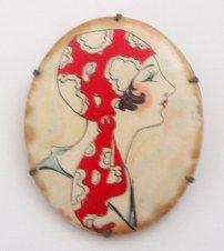 porcelain flapper brooch